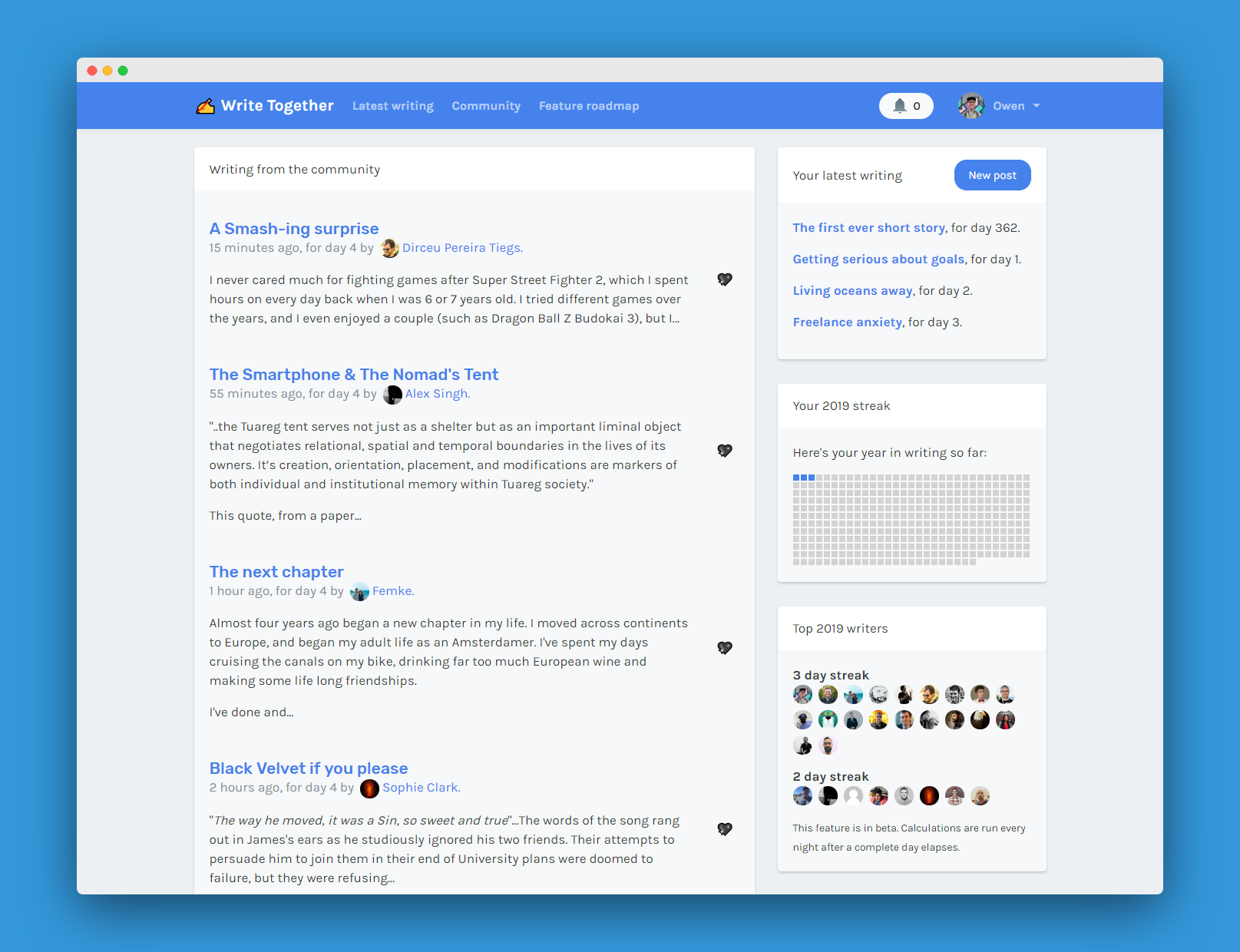A picture of the Write Together dashboard
